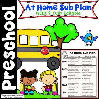 Send Home Sub Plan Week 2 Cover