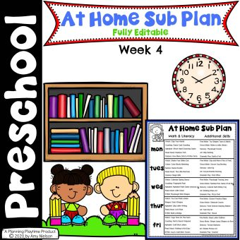 Send Home Sub Plan Week 4 Cover