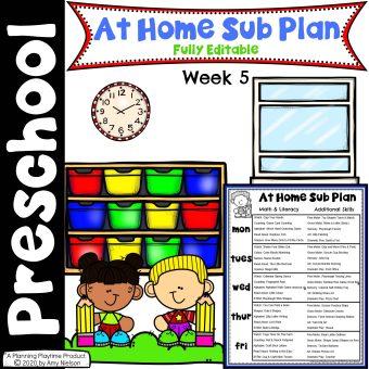 Send Home Sub Plan Week 5 Cover