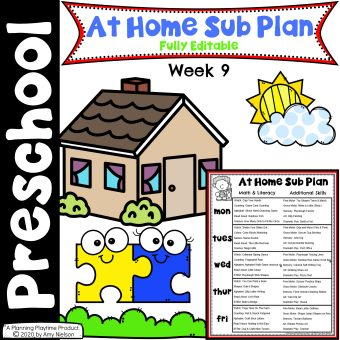 Send Home Sub Plan Week 9 Cover - Distance Learning