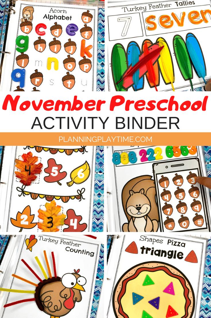 November Preschool Binder - Planning Playtime