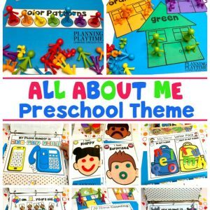 8 activities for All About Me theme with playdough, little people counters adn magnetic letters.
