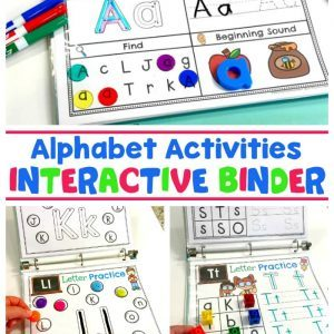 3 alphabet printables in a binder with plastic letters, dry erase markers, and clear marbles