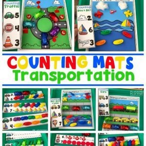 Preschool Counting Mats Transportation theme