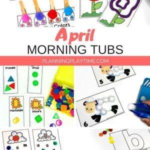 April Morning Tubs - Preschool Activities for Kids